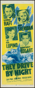 "Movie Posters:Drama, They Drive by Night (Dominant, R-1956). Insert (14"" X 36""). Drama.. ..."