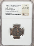 Ancients:Roman Provincial , Ancients: SPAIN. Carthago Nova. Augustus (27 BC-AD 14). Æ semis(6.38 gm)....