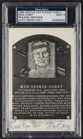 Autographs:Post Cards, Signed 1956 Artvue Type 2 Max Carey Hall of Fame Plaque PostcardPSA Mint 9. ...