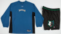Basketball Collectibles:Uniforms, 2002-03 Minnesota Timberwolves Game Worn Warm Up Jersey andShorts....