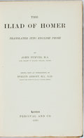 Books:Literature Pre-1900, [John Purves, translator]. Homer. The Iliad. London:Percival, 1891. First edition. Contemporary green cloth with gi...