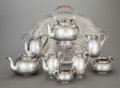 Silver Holloware, Continental:Holloware, AN EIGHT PIECE AUSTRIAN SILVER TEA AND COFFEE SERVICE WITH ANASSOCIATED ENGLISH SILVER HOT WATER KETTLE AND STAND, Joseph C...(Total: 9 Items)