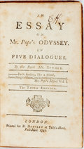 Books:Non-fiction, Rev. Mr. Spence. An Essay on Mr. Popes Odyssey. In Five Dialogues. London: R. Dodsley, 1747. Third edition. Twelvemo...