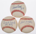 "Autographs:Baseballs, Eddie Mathews ""512 HR's"", Johnny Bench ""HOF 89"", and Orlando Cepeda""58 Roy"" Single Signed Baseball Lot Of 3...."