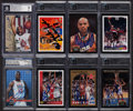 Autographs:Sports Cards, Signed Basketball Superstars and Hall of Famers Card Collection(8). ...