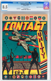 Contact Comics #8 Mile High pedigree (Aviation Press, 1945) CGC VF+ 8.5 Off-white to white pages