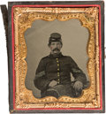 Photography:Ambrotypes, Sixth Plate Ambrotype Portrait of a Federal Infantry Sergeant,Exceptional Quality, Pristine Condition....