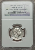 Philippines, Philippines: Spanish Colony - Alfonso XII 20 Centimos 1884 UNC Details (Excessive Surface Hairlines) NGC,...
