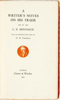 Books:Non-fiction, [H.M. Tomlinson]. SIGNED/LIMITED. C.E. Montague. A Writer'sNotes on His Trade. London: Chatto & Windus, 1930. Editi...