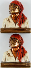 Books:Furniture & Accessories, [Bookends]. Matching Pair of Pirate / Buccaneer Bookends with Bronze Finish. Produced by Marion Bronze with manufacturer...
