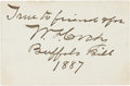 "Autographs:Celebrities, William F. ""Buffalo Bill"" Cody Inscribed Calling Card Signed...."