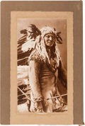 American Indian Art:Photographs, Rain in the Face: A Rare and Impressive Huge Sepia-tinted Photo by D. F. Barry on His Mount....