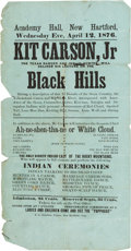 Miscellaneous:Broadside, 1876 Kit Carson, Jr. Wild West Show Playbill....