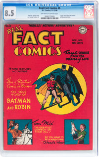 Real Fact Comics #5 (DC, 1946) CGC VF+ 8.5 Off-white to white pages