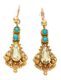 Estate Jewelry:Earrings, Chrysoberyl, Turquoise, Gold Earrings. ...