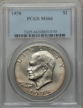Eisenhower Dollars: , 1978 $1 MS66 PCGS. PCGS Population (353/5). NGC Census: (134/5). Mintage: 25,702,000. Numismedia Wsl. Price for problem fre...