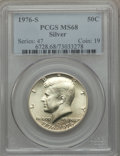 Kennedy Half Dollars: , 1976-S 50C SILVER MS68 PCGS. PCGS Population (351/1). NGC Census:(22/0). Mintage: 11,000,000. Numismedia Wsl. Price for pr...