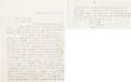 Military & Patriotic:Civil War, [Ulysses S. Grant]. A two and a quarter page letter recounting an encounter between General Grant and a black union conscrip...