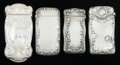 Silver Smalls:Match Safes, FOUR GORHAM SILVER MATCH SAFES, Providence, Rhode Island, circa1900. Marks to all: (lion-anchor-G), STERLING, 1160; 115; ...(Total: 4 Items)