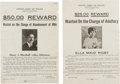 Miscellaneous:Broadside, Two Wanted Posters.... (Total: 2 Items)