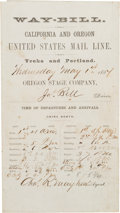 Western Expansion:Goldrush, California Stage Coach Company Waybill and Oath of Employment....(Total: 2 Items)
