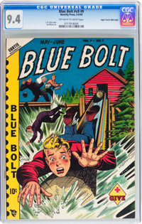 Blue Bolt V9#9 Mile High pedigree (Novelty Press, 1949) CGC NM 9.4 Off-white to white pages