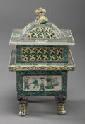 Asian:Chinese, A CHINESE FAMILLE VERTE PORCELAIN COVERED CENSER, 19th century.12-1/2 inches high (31.8 cm). ...
