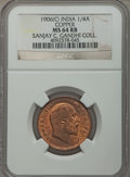India:British India, India: British India. Edward VII 1/4 Anna 1906-(c) MS64 Red and Brown NGC,...