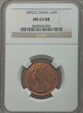India:British India, India: British India. Victoria 1/4 Anna 1892-(c) MS63 Red and Brown NGC,...