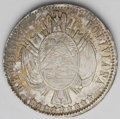 Bolivia: , Bolivia: Republic Boliviano 1866-FP, KM152.1, choice toned AU, slightly weak centers but an unusually attractive example....