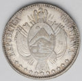 Bolivia: , Bolivia: Republic Boliviano 1868/7-FE, KM152.2, lovely toned XF-AU, very clear overdate....