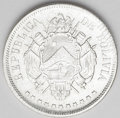 Bolivia: , Bolivia: Republic Boliviano 1870-ER, KM152.2, choice AU-UNC, fully lustrous and very attractive, weight as 25 Gms....