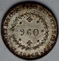 Brazil: , Brazil: Pedro I 960 Reis 1824-R, KM368.1, nice lightly tonedAU-UNC, struck over a Spanish colonial 8 Reales....