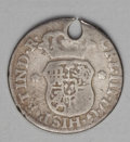 Chile: , Chile: Carlos III Pillar 1/2 Real 1760J-So, KM15, VG with alldetails quite clear, holed at the top. This little type isextremely ...