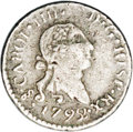 Chile: , Chile: Carlos IIII 1/4 Real 1792-So, KM46, bust of Carlos III,interesting overdate which appears to be 2 over 5. VF details butth...