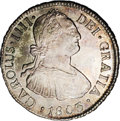 Chile: , Chile: Carlos IIII 2 Reales 1803FJ-So, KM59, MS64 NGC, a superbcoin with light gray patina and flashes of gold in the legends,ver...