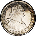 Chile: , Chile: Carlos IIII 4 Reales 1808/7FJ-So, KM60, bold AU, lightlypolished long ago and now attractively toned, extremely boldoverda...