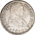 Chile: , Chile: Ferdinand VII 2 Reales 1810FJ-So, KM74, AU55 NGC, V in VIIis an inverted A, military laureate bust, a well-detailedexample...