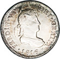 Chile: , Chile: Ferdinand VII 2 Reales 1816FJ-So, KM79, MS62 NGC, a choice toned example with full underlying luster and an interesting dieb...