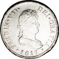 Chile: , Chile: Ferdinand VII 2 Reales 1817FJ-So, KM79, MS65 NGC Prooflike,an incredible example with full luster and mirrored reflective f...