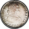 Chile: , Chile: Ferdinand VII 4 Reales 1810FJ-So, KM67, AU58 NGC, a choice,lightly toned example with remarkably bold details. There is one...