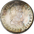 Chile: , Chile: Ferdinand VII 8 Reales 1814FJ-So, KM80, MS62 NGC, a choicecoin with that perfect blend of light gold and gray toning andun...