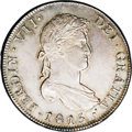 Chile: , Chile: Ferdinand VII 8 Reales 1815FJ-So, KM80, MS63 NGC, incredibly well-defined strike with flashy gold and pewter gray patina, a ...