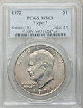 Eisenhower Dollars, 1972 $1 Type Two MS63 PCGS. PCGS Population (574/546). Numismedia Wsl. Price for problem free NGC/PCGS ...