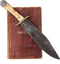 Edged Weapons:Knives, Confederate Soldier's Bowie Knife and Book of Psalms.... (Total: 2 Items)