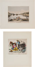 Miscellaneous:Ephemera, Pair of German Hand-Colored Prints of Indians and Settlers....(Total: 2 Items)