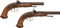 Handguns:Muzzle loading, Pair of Belgian .58 Caliber Percussion Dueling Pistols.... (Total:2 Items)