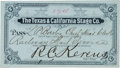 Transportation:Railroad, 1880 Texas & California Stage Coach Pass....
