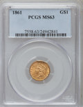 Gold Dollars: , 1861 G$1 MS63 PCGS. PCGS Population (256/153). NGC Census:(214/156). Mintage: 527,499. Numismedia Wsl. Price for problem f...
