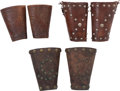 Western Expansion:Cowboy, Tooled and Studded Leather Cowhand's Cuffs: Three Matched Pairs....(Total: 3 Items)